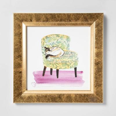 Large Cat On Chair Framed Canvas   Opalhouse by Opalhouse