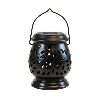 Solar Powered Ceramic LED Lantern Black