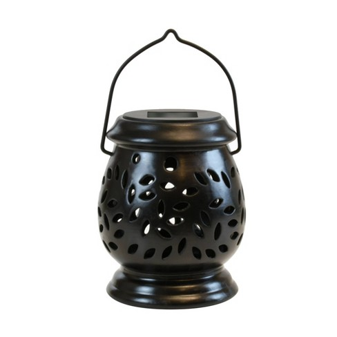 Solar Powered Ceramic LED Lantern Black - image 1 of 4
