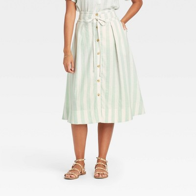Women's Striped Button-Front Midi Skirt - A New Day™ Mint