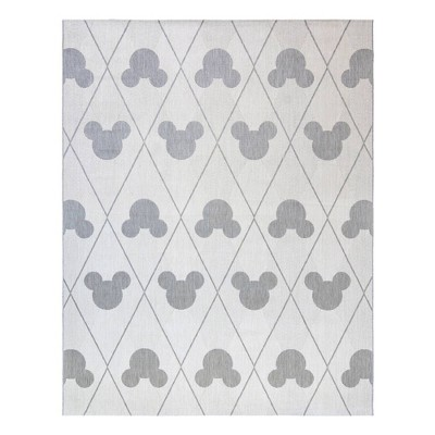 8'x10' Mickey Mouse and Friends Argyle Outdoor Rug Gray