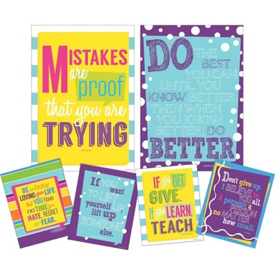 Set of 6 Keep On Trying Motivational Art Prints & Posters - Barker Creek