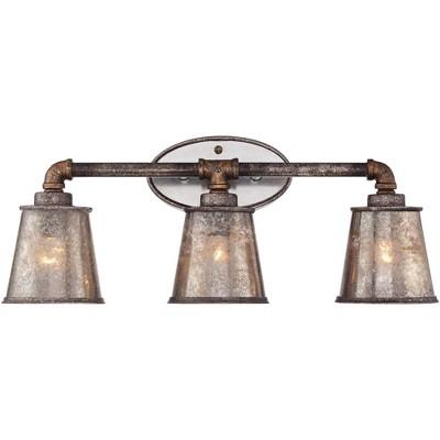 "Franklin Iron Works Farmhouse Wall Light Industrial Rust Hardwired 23 1/4"" Wide 3-Light Fixture Tea Tone Seedy Glass for Bathroom"