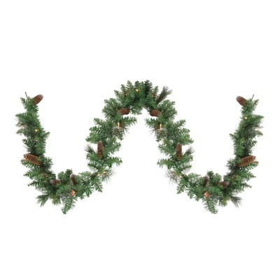 """Northlight 9' x 10"""" Pre-Lit Yorkville Pine Artificial Christmas Garland - Clear Lights"""