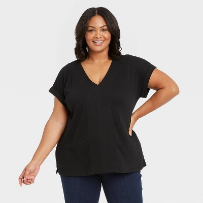 Women's Plus Size Short Sleeve Blouse - Ava & Viv™
