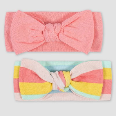 Gerber Baby Girls' 2pk Rainbow Headband - Pink