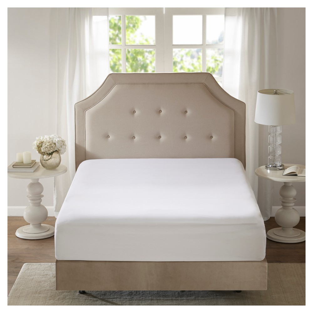 Copper Infused Microfiber Zippered Mattress Protector (California King) White