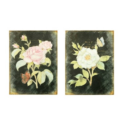 "(Set of 2 Styles) 23.25"" Rose and Butterfly on Burlap Decorative Wall Art - 3R Studios"