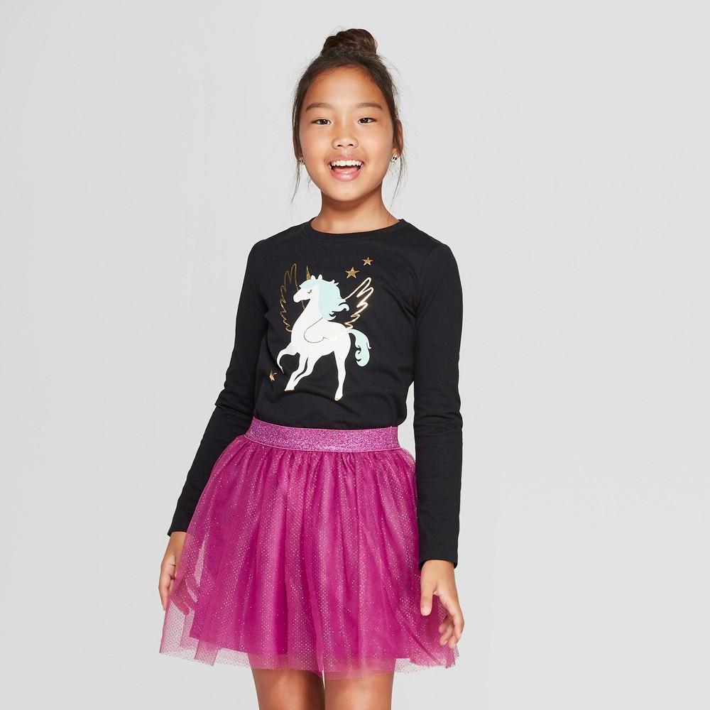 Girls' Long Sleeve Pegacorn Graphic T-Shirt - Cat & Jack Black S