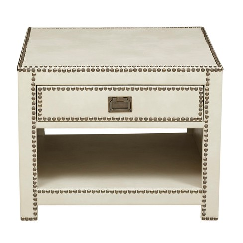 Chester Ivory Faux Leather Wred Trunk Style End Table White Ski