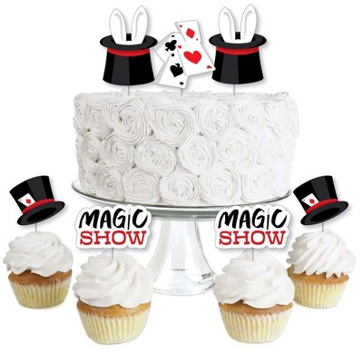 Big Dot of Happiness Ta-Da, Magic Show - Dessert Cupcake Toppers - Magical Birthday Party Clear Treat Picks - Set of 24