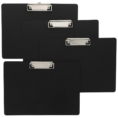 Landscape Clipboard with Low Profile Clip 4 Pack - Horizontal Hardboard Black 12.3 x 8.8 inches