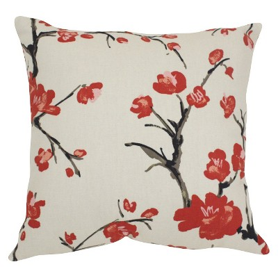 BEIGE Flowering Branch Throw Pillow (16.5 x16.5 )- Pillow Perfect