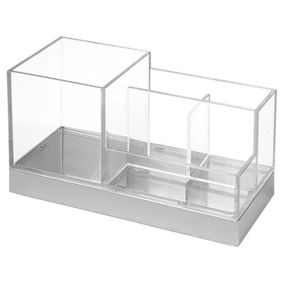 Square Bathroom Vanity Organizer Clear/Chrome - InterDesign®