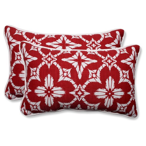 Pillow Perfect Aspidoras Apple Outdoor Throw Pillow Set - Red - image 1 of 2