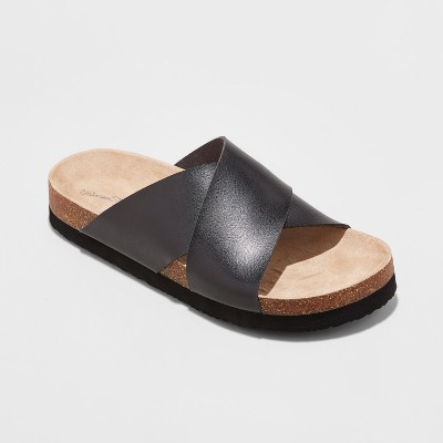 Women's Elyssa Wide Width Crossband Footbed Sandals - Universal Thread™ Black 6.5