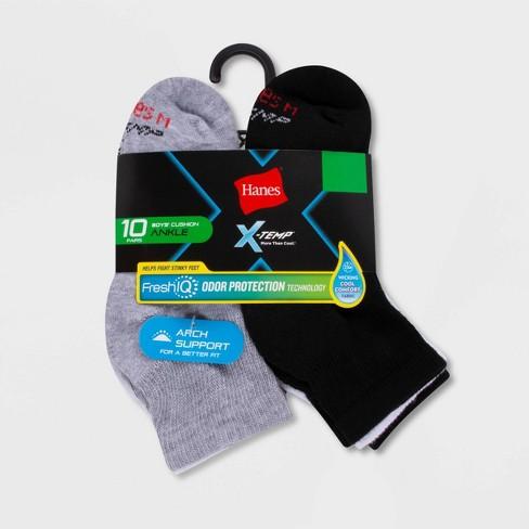 Hanes Boys' X-Temp Ankle 10pk Athletic Socks - Black/White/Grey - image 1 of 2