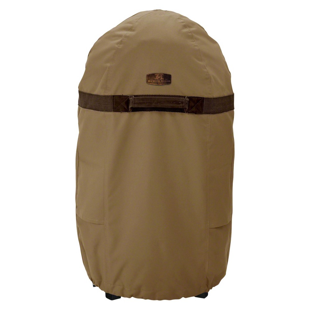 Hickory Smoker Cover Round Tan - Large, Brown If you live in an area where you can't smoke meats year-round, or just don't want your outdoor appliances exposed to the elements all the time, you should invest in a cover. The Hickory Round Smoker Cover from Classic Accessories is a high-quality outdoor smoker cover that will keep your appliances secure and unharmed. The crack- and water-resistant smoker cover shuts out snow and rain, in addition to wind, with unique side vents that keep the cover from blowing up in strong winds. Adjustable hem cord, straps and handles let you find the best fit to keep your meat smoker protected when not in use. Color: Brown.