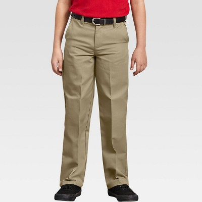 Dickies Boys' Classic Fit Straight Leg Flat Front Uniform Chino Pants