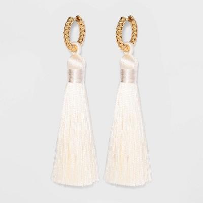 SUGARFIX by BaubleBar Hoop Stud Tassel Earrings