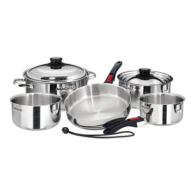 Magma Products 10 Piece Stainless Steel Gourmet Nesting Kitchen Cookware Set