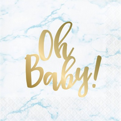 48ct Marble Baby Shower 'Oh Baby' Disposable Napkins Blue