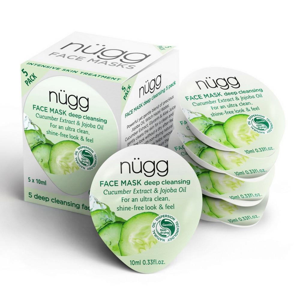 nügg Deep Cleansing Face Mask - Cucumber Extract & Jojoba Oil - 5 ct