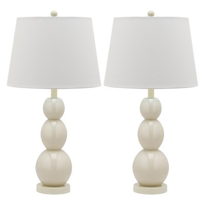"(Set of 2)26.5"" Jayne Three Sphere Glass Lamp Light Gray (Includes CFL Light Bulb)- Safavieh"
