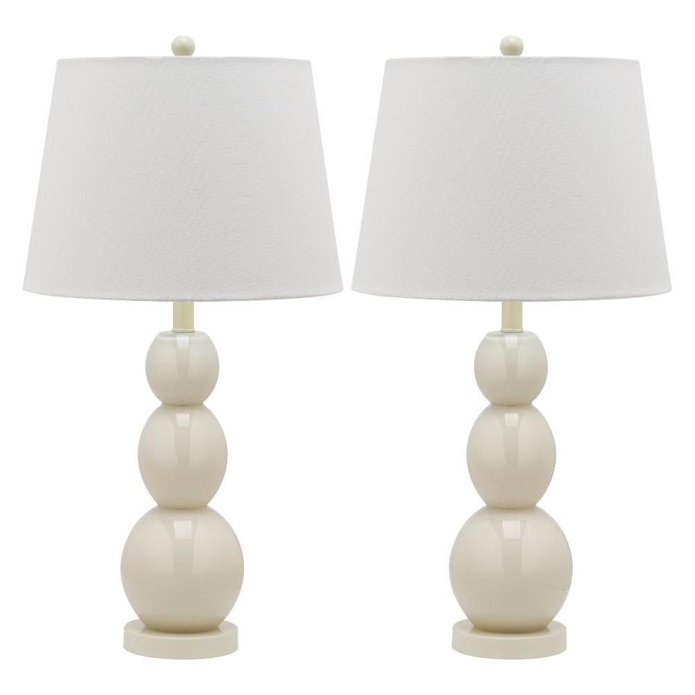 Best Sale Jayne Three Sphere Glass Lamp Set Safavieh Light GrayWhite