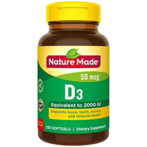 Nature Made Vitamin D3 2000 IU (50 mcg) Softgels - 250ct - image 1 of 3