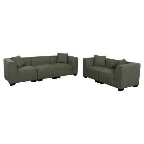 Lida 5pc Greenish - Gray Sectional Sofa and Loveseat Set - Corliving - image 1 of 5