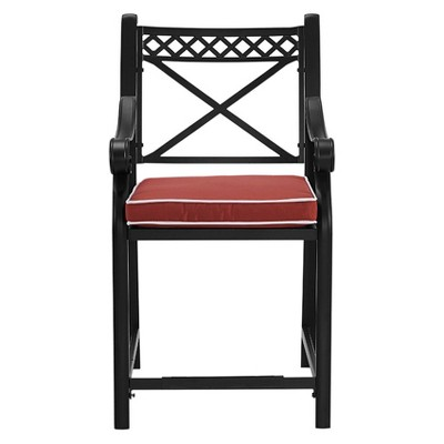 Palermo Set Of 2 Cast Aluminum Bar Height Stools With Sangria Cushions    Crosley : Target