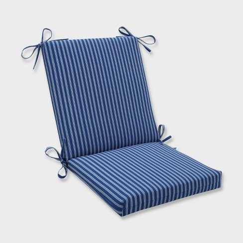 Resort Stripe Squared Corners Outdoor Chair Cushion Blue - Pillow Perfect - image 1 of 2