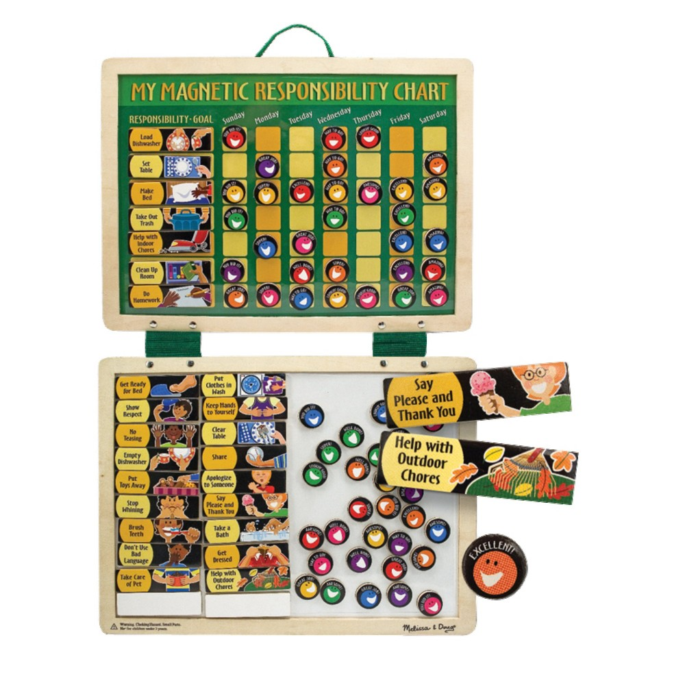 Melissa 38 Doug Deluxe Wooden Magnetic Responsibility Chart With 90 Magnets