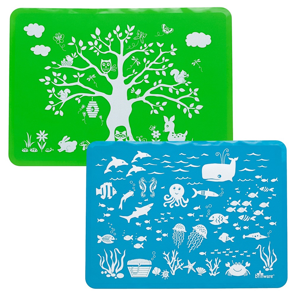 "Image of ""15"""" x 11"""" 2pk Silicone Land & Sea Placemats Blue/Green - Brinware, Green Blue"""