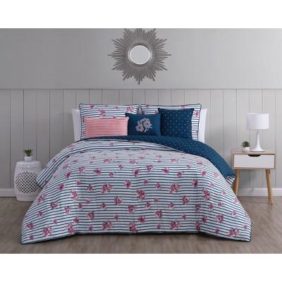 Queen 6pc Kalina Comforter Set Navy/Pink - Aurora Stone