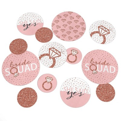 Big Dot of Happiness Bride Squad - Rose Gold Bridal Shower or Bachelorette Party Giant Circle Confetti - Party Decorations - Large Confetti 27 Count