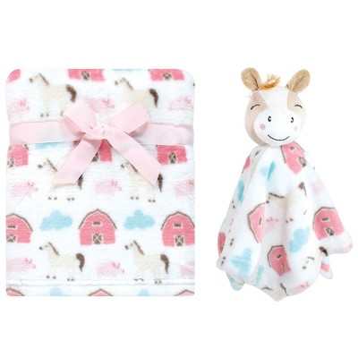 Hudson Baby Infant Girl Plush Blanket with Security Blanket, Horse, One Size
