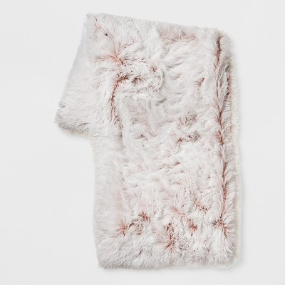 Bottom Printed Shaggy Plush Throw Blanket Pink - Room Essentials™