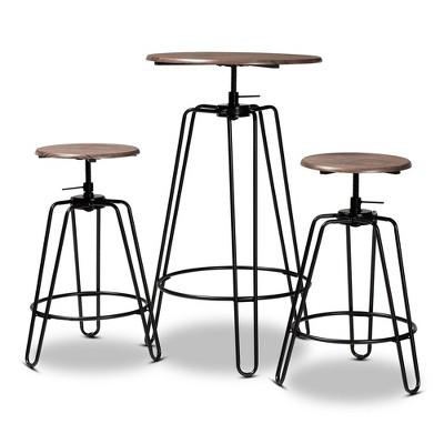 3pc Adjustable Bar Pub Counter Height Dining Set Veera Wood and Metal Walnut/Black - Baxton Studio