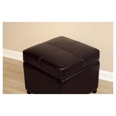 Merveilleux Full Leather Storage Cube Ottoman Dark Brown   Baxton Studio : Target