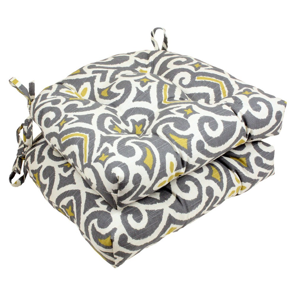 """Image of """"Gray New Damask Reversible Chair Pad (Set Of 2) (16""""""""X15.5"""""""") - Pillow Perfect"""""""