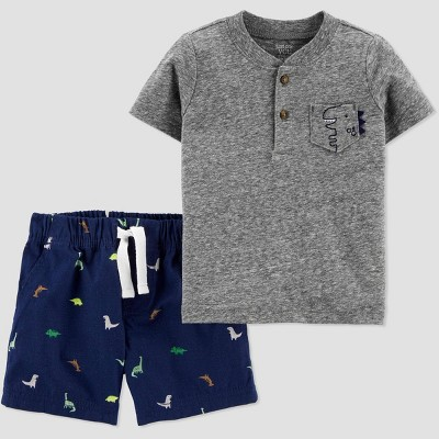 Baby Boys' 2pc Dino Top & Bottom Set - Just One You® made by carter's Gray/Navy 9M