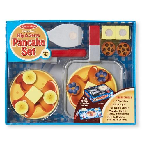 Melissa Doug Flip And Serve Pancake Set 19pc Wooden Breakfast Play Food