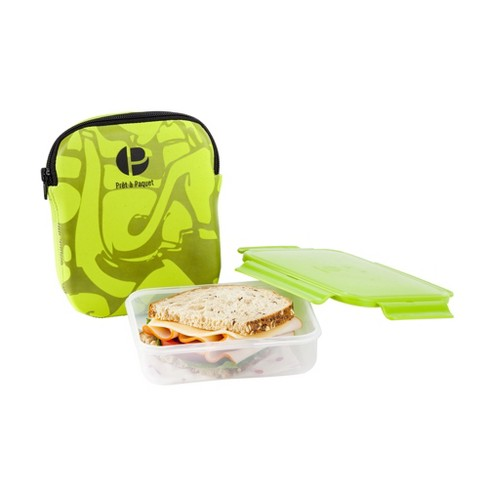 Life Story Leak Proof Snack Sandwich Lunch Box With Insulated Sleeve Green