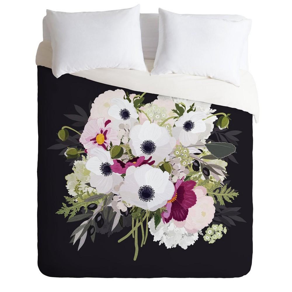 King Iveta Abolina Antoinette Floral Comforter Set Black/Pink - Deny Designs, Pink Black