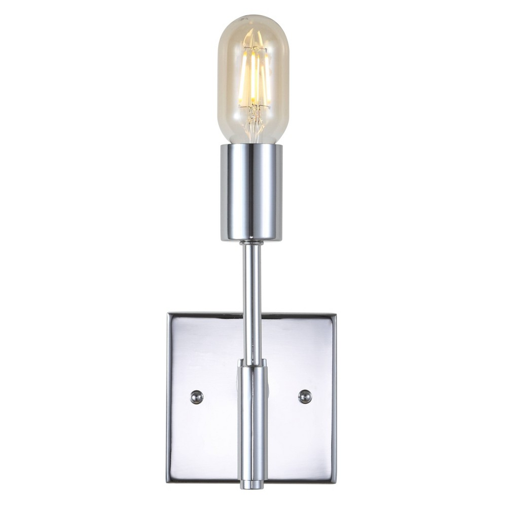 "Image of ""11.7"""" Turing 1 Light Metal LED Wall Sconce Chrome (Includes Energy Efficient Light Bulb) - JONATHAN Y"""