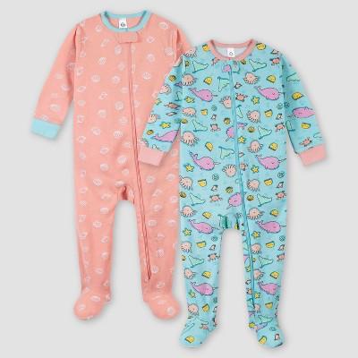 Gerber Girls' 2pk Footed Pajama - Pink/Green 3M