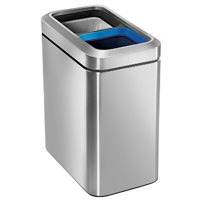 simplehuman 20 Liter Slim Open Recycling Trash Can - Dual Compartment, Fingerprint-Proof Brushed Stainless Steel