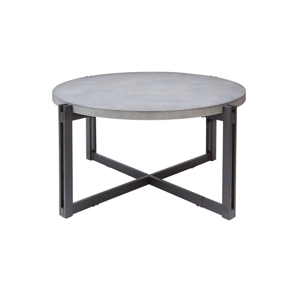 Silverwood Dakota Coffee Table With Round Concrete Finish Top Gray